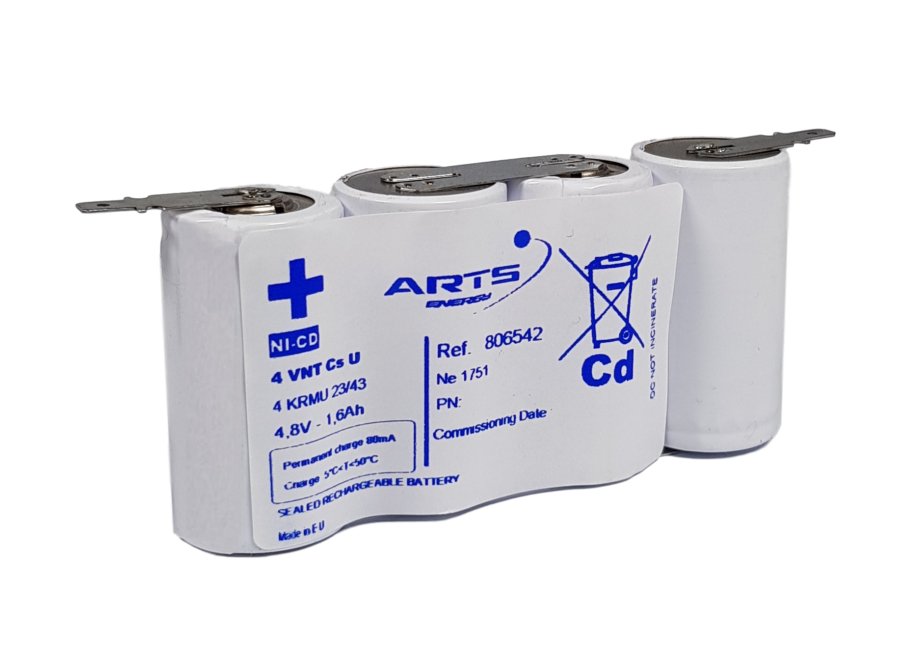 Arts Energy (Saft) NiCd 4,8V 1600mAh 4xCs VNT side by side met S11 aansluiting