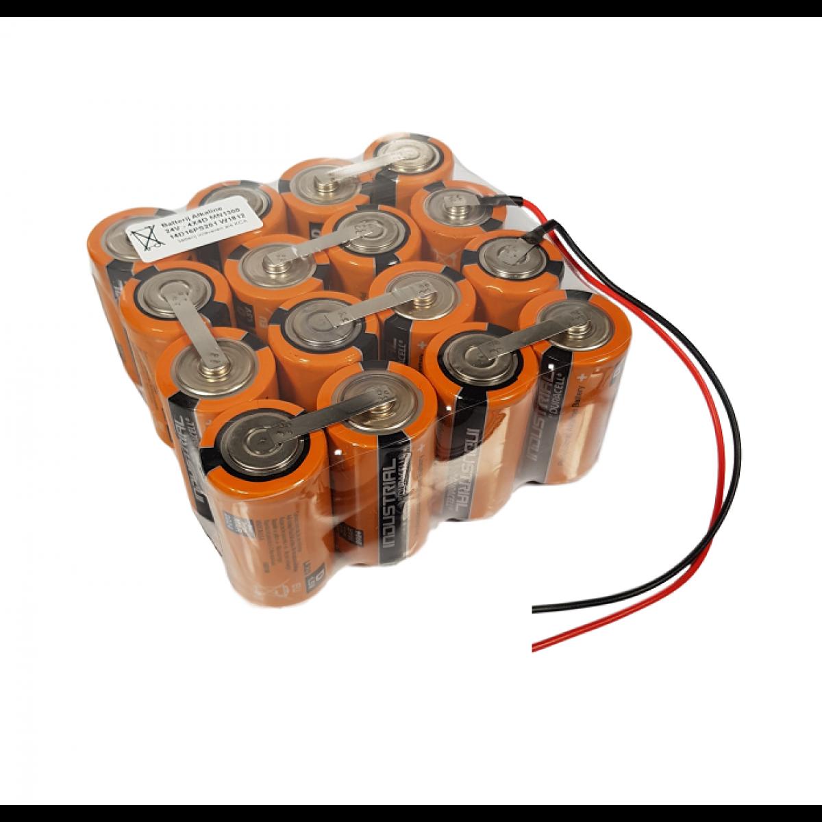 Batterijpack alkaline 4x4D MN1300 Duracell 24V - Draadaansluiting