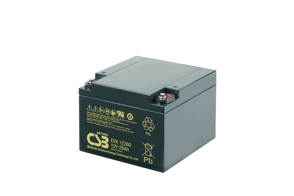 EVX12260B3 - 12V 26Ah Deep Cycle AGM loodaccu van CSB Battery