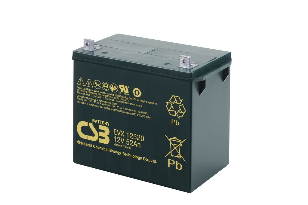 EVX12520 - 12V 52Ah Deep Cycle AGM loodaccu van CSB Battery
