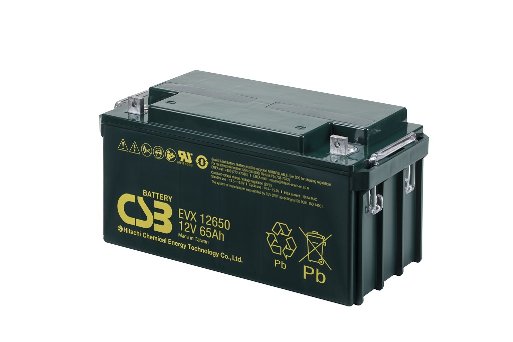 EVX12650 - 12V 65Ah Deep Cycle AGM loodaccu van CSB Battery