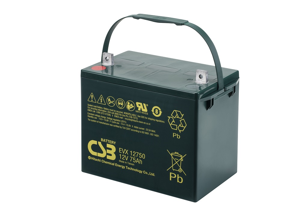 EVX12750 - 12V 75Ah Deep Cycle AGM loodaccu van CSB Battery
