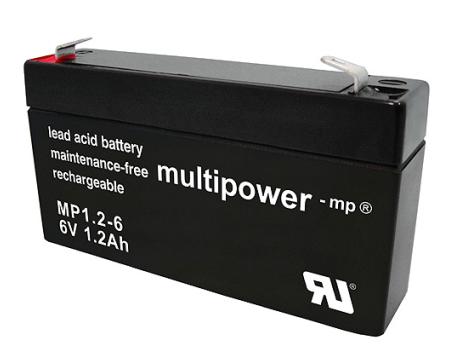 MP1.2-6 - 6V 1,2Ah AGM Algemeen gebruik van Multipower