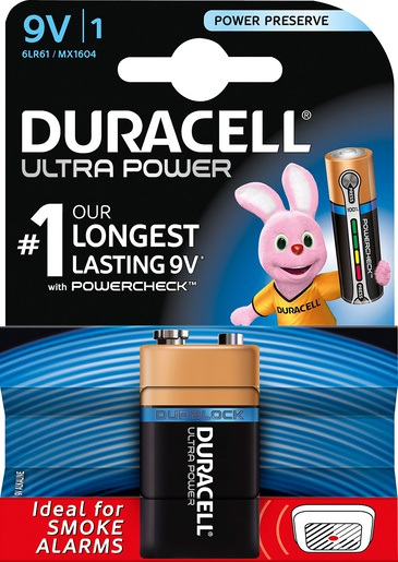 MX1604 Duracell Ultra Power 9V BL1