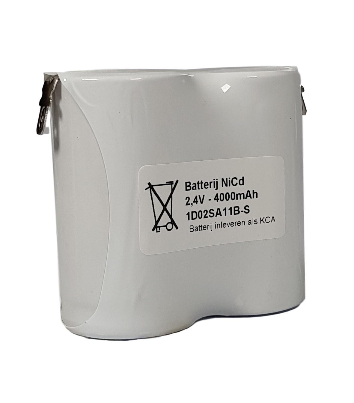 Noodverlichting accu NiCd 2,4V 4000mAh D 2SBS - Faston 4,8mm