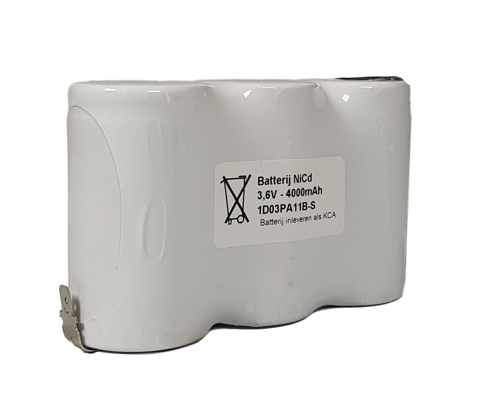 Noodverlichting accu NiCd 3,6V 4000mAh D 3SBS - Faston 4,8mm