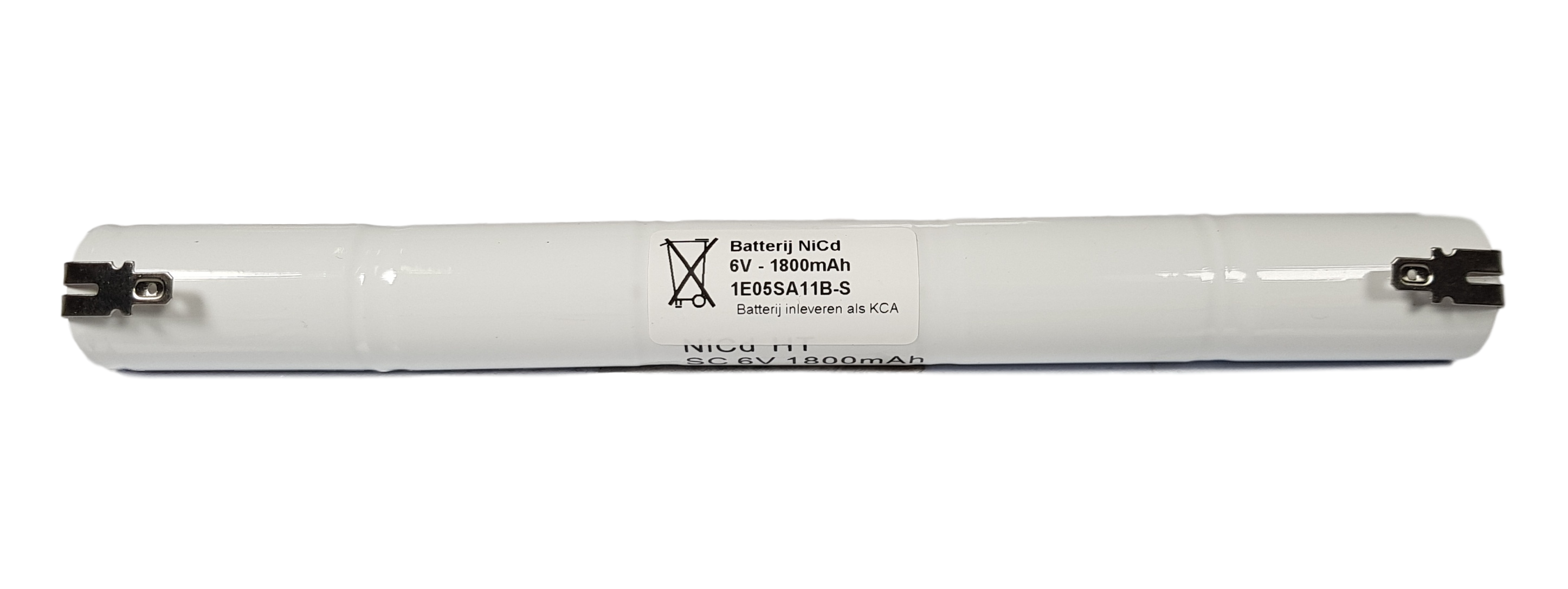 Noodverlichting accu NiCd 6V 1800mAh Cs 5STAAF - Faston 4,8mm