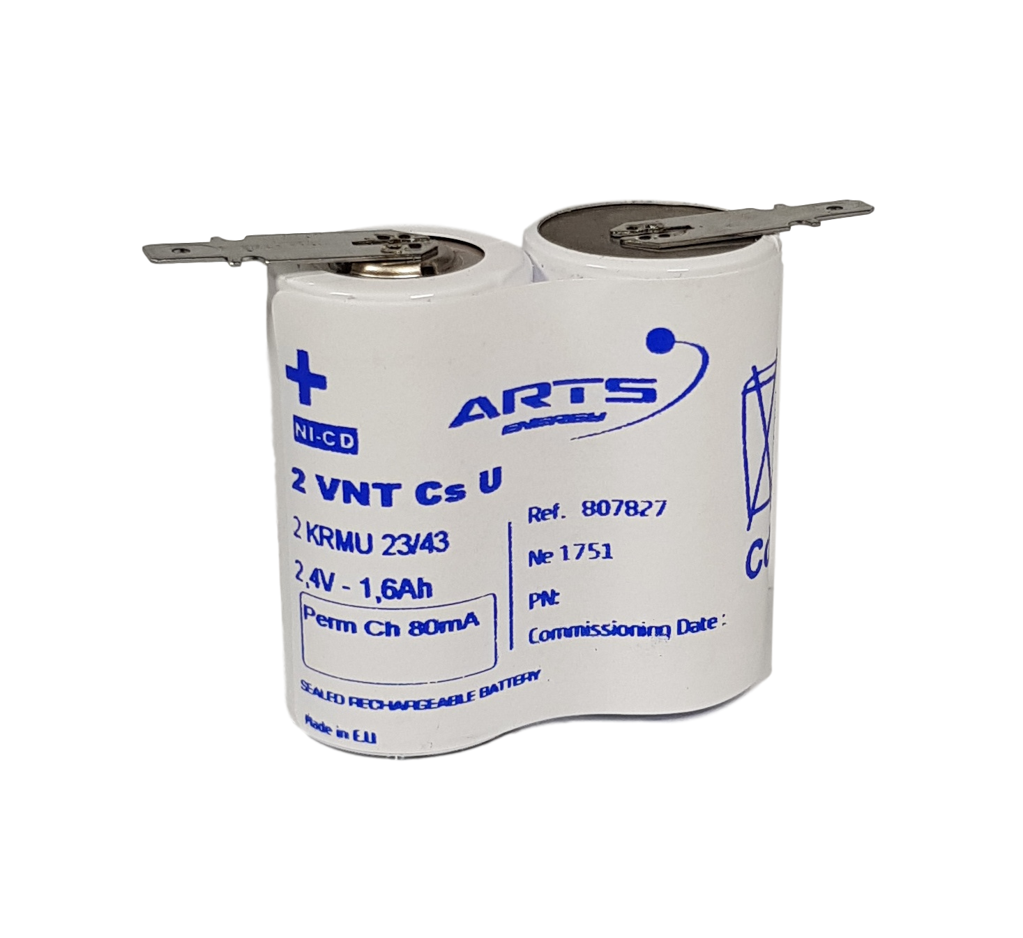 Arts Energy (Saft) NiCd 2,4V 1600mAh 2xCs VNT side by side met S11 aansluiting