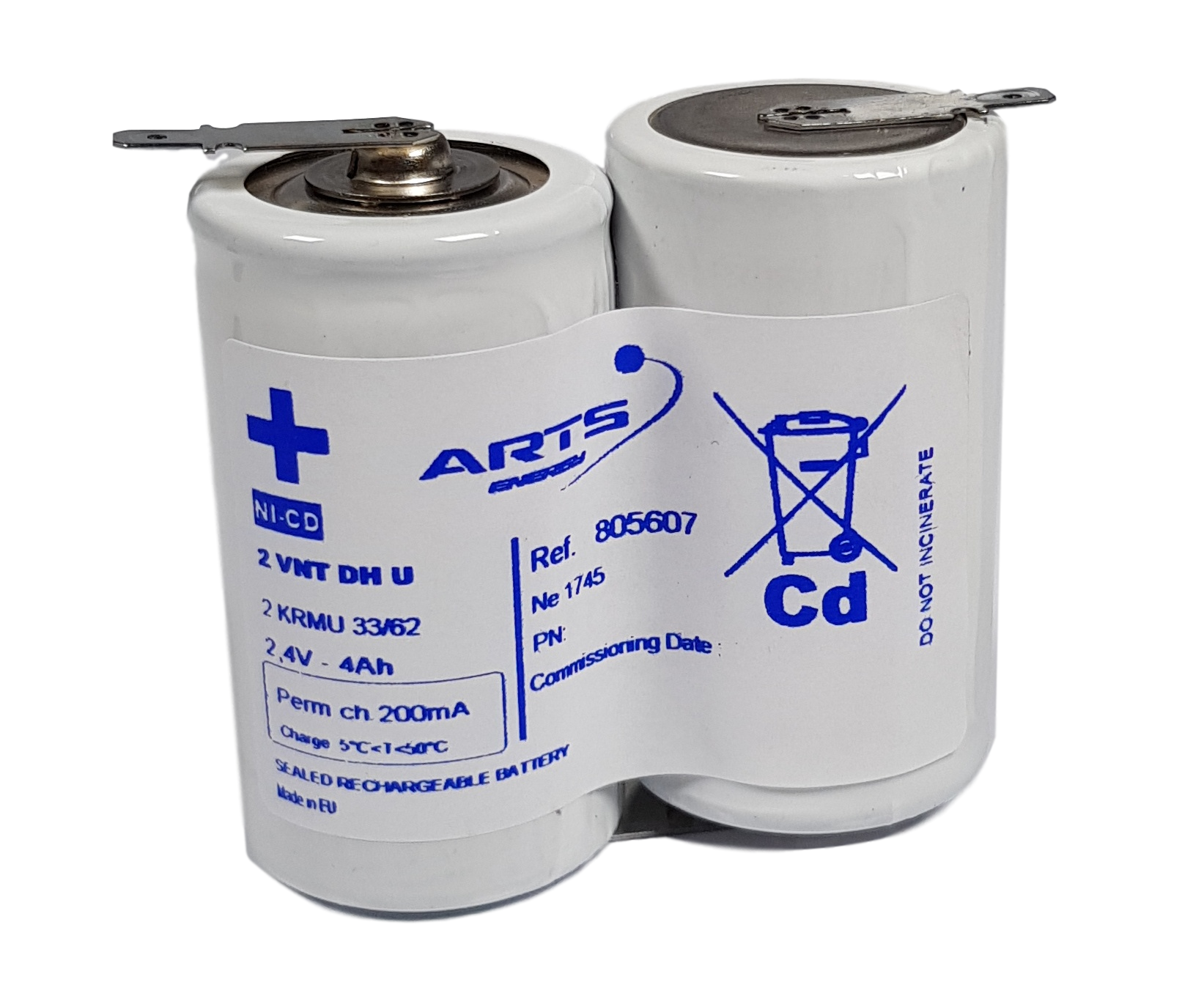 Arts Energy (Saft) NiCd 2,4V 4000mAh 2xD VT side by side met S11 aansluiting