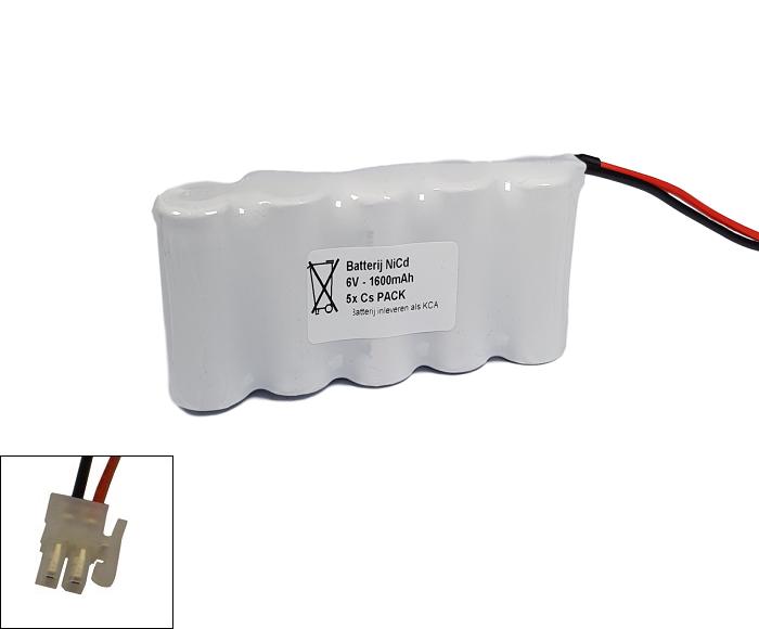 Noodverlichting accu Saft/Arts NiCd 6V 1600mAh Cs 5SBS - Hertek aansluiting