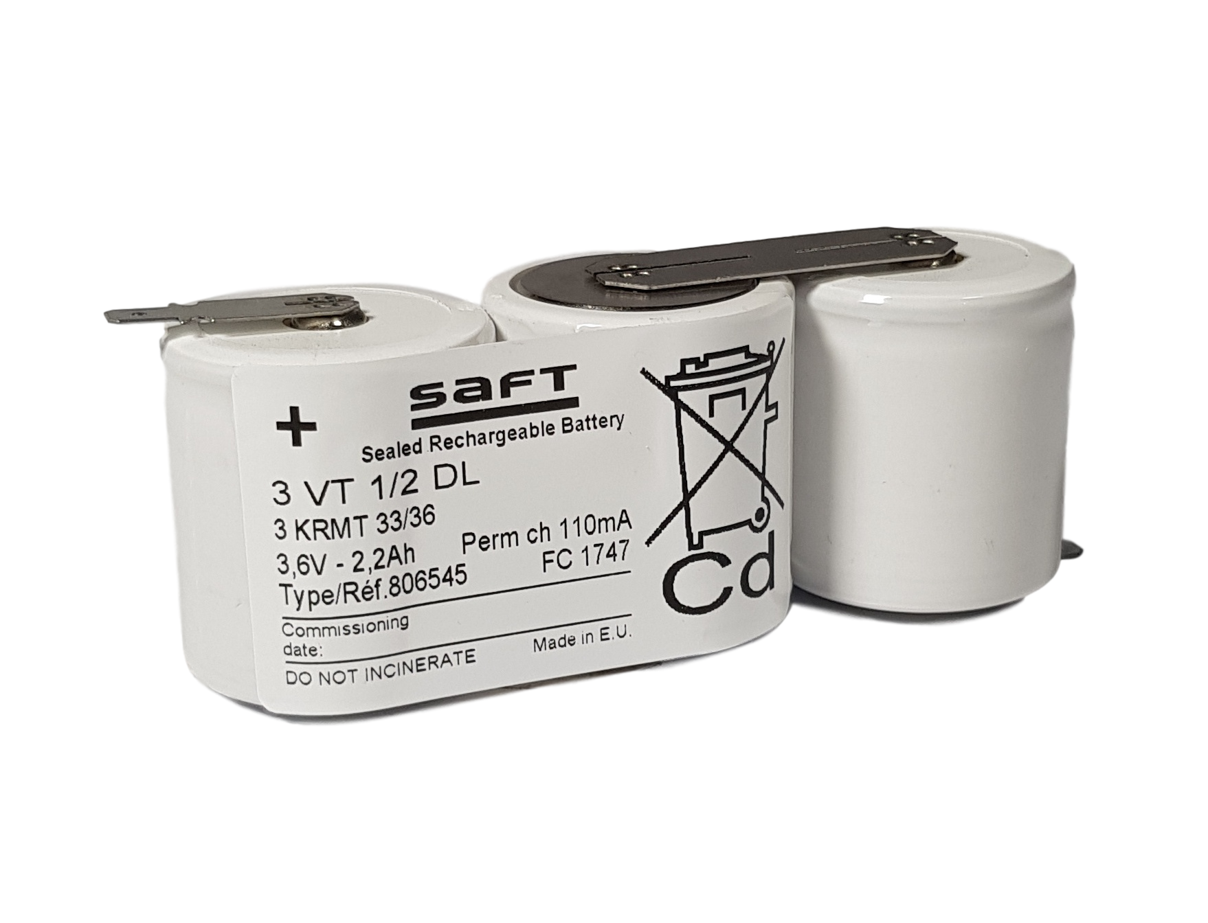 Arts Energy (Saft) NiCd 3,6V 2200mAh 3x1/2D VT side by side met S11 aansluiting