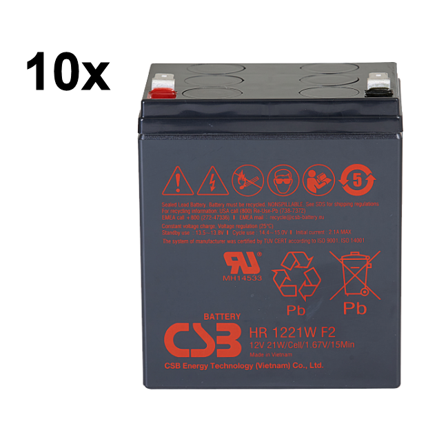 UPS noodstroom accu 10 x HR1221WF2 van CSB Battery